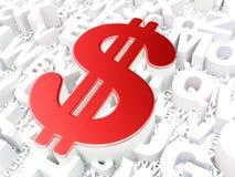 Muntconcept: Dollar op alfabetachtergrond Royalty-vrije Stock Afbeeldingen