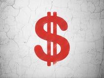 Muntconcept: Dollar op muurachtergrond Royalty-vrije Stock Afbeeldingen