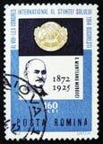 Munteanu Murgoci, Geoloog, en Congresembleem, 8ste Internationaal Congres, Boekarest, circa 1964 stock afbeeldingen