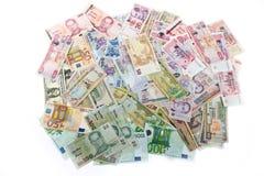 Munten, geld wereldwijd, bankbiljetten Stock Foto's