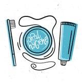 Muntlig hygien Vektorillustration i hand-dragen stil Tandborste floss, tandkräm royaltyfri illustrationer