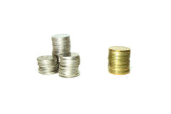Muntstuk een gouden muntstuk Stock Afbeelding
