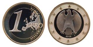Muntstuk 1 Euro 2008 van Duitsland royalty-vrije stock foto