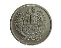 Muntstuk. Honderd Zolen DE oro. Peru. Revers Royalty-vrije Stock Afbeeldingen