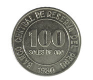 Muntstuk. Honderd Zolen DE oro. Peru. Verzekert Stock Foto's