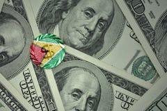 muntstuk met dollarteken met nationale vlag van Guyana op de de bankbiljettenachtergrond van het dollargeld Stock Fotografie