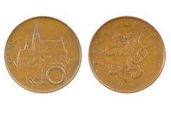 Muntstuk van de Tsjechische Republiek 10 CZK Stock Foto's