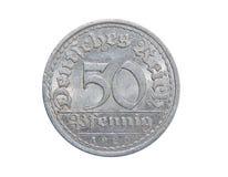 Muntstuk van Duitsland 50 PFENINGS 1920 Royalty-vrije Stock Afbeeldingen