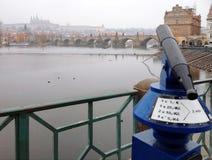 Muntstuk in werking gestelde verrekijkers met de oude stad van Praag Stock Afbeelding