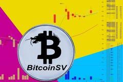 Muntstukcryptocurrency bitcoin SV op grafiek en gele blauwe neonachtergrond BSV stock afbeeldingen
