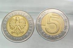 Muntstukken - 5 poetsen zloty op Stock Afbeeldingen