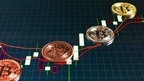 Muntstukken bitcoin en de grafiek van verkoop op de beurs stock fotografie
