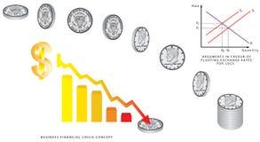 Muntstukken die - dollar vallen Royalty-vrije Stock Afbeeldingen