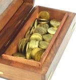 Muntstukken in een doos Stock Fotografie