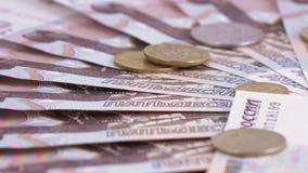 Muntstukken en aantallen op roebels stock video