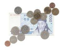 Muntstukken en bankbiljet van Zuid-Korea