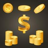 Muntstukken en de gouden kleur van het dollarteken Stock Afbeeldingen