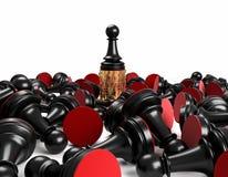 Muntstukken en schaak Royalty-vrije Stock Afbeelding
