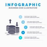 muntstukken, financiën, kapitaal, goud, het Malplaatje van inkomensinfographics voor Website en Presentatie GLyph Grijs pictogram vector illustratie