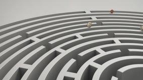 Muntstukken in labyrint stock videobeelden
