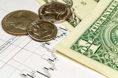 Muntstukken met Amerikaanse dollarsbankbiljetten op de achtergrond van het programma van de muntgroei Royalty-vrije Stock Afbeeldingen