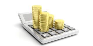 Muntstukken op calculator op witte achtergrond 3D Illustratie Stock Foto's