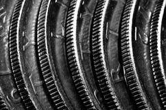 Muntstukken op een rij Zilveren Rijkdom stock foto