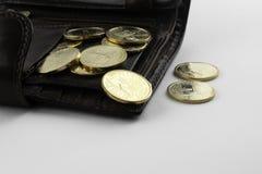 Muntstukken in portefeuille royalty-vrije stock afbeelding