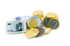 Muntstukken van één euro, stock fotografie