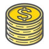 Muntstukken van dollar gevuld overzichtspictogram, zaken Royalty-vrije Stock Foto