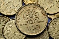Muntstukken van Griekenland Stock Foto