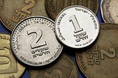 Muntstukken van Israël Stock Afbeeldingen