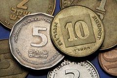 Muntstukken van Israël Stock Foto