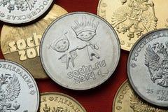 Muntstukken van Rusland Sotchi 2014 de Winterolympics Stock Fotografie