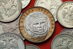 Muntstukken van Rusland Yuri Gagarin Stock Fotografie