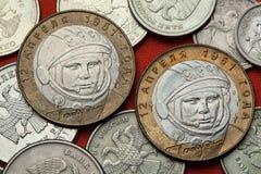 Muntstukken van Rusland Yuri Gagarin Stock Afbeeldingen