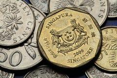 Muntstukken van Singapore Stock Afbeeldingen