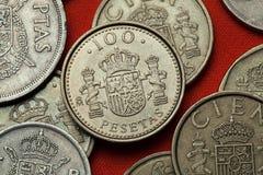 Muntstukken van Spanje Spaans nationaal embleem Stock Foto's