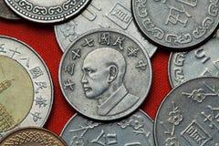 Muntstukken van Taiwan Taiwan voorzitter Chiang Kai-shek stock afbeeldingen