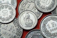 Muntstukken van Zwitserland Bevindende Helvetia Royalty-vrije Stock Afbeelding