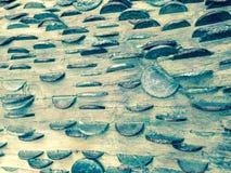 Muntstukkenkunst/houten Britse pence Pond Sterling/binnenkant retro/ Royalty-vrije Stock Foto's