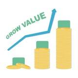 Muntstukpictogram in vlak ontwerp Gouden muntstuksymbool Concept inkomen met omhoog pijl Kweek van de waardeeuro en dollar symboo Stock Afbeelding