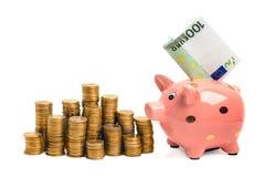 Muntstukspaarvarken met EURO rekening stock foto's