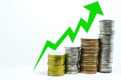 Muntstukuptrend de grafiek maakt geld Stock Foto's
