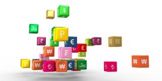 Muntsymbolen op drijvende dozen Stock Afbeelding