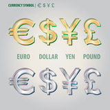 Muntsymbool van Dollar Euro Yen en Pond Vecto Royalty-vrije Stock Afbeeldingen