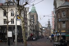 Munttorenen som byggs om i Amsterdam renässansstil runt om 1620 Royaltyfri Fotografi
