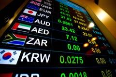 Muntwisselkoers op digitale vertoningsmonitor bij Bank Royalty-vrije Stock Afbeelding