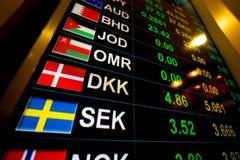 Muntwisselkoers op digitale vertoningsmonitor bij Bank Stock Foto's