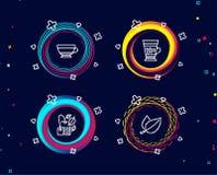 Muntzak, Droge cappuccino en Frappe-pictogrammen Het teken van muntbladeren Menthathee, Drankmok, Koude drank royalty-vrije illustratie